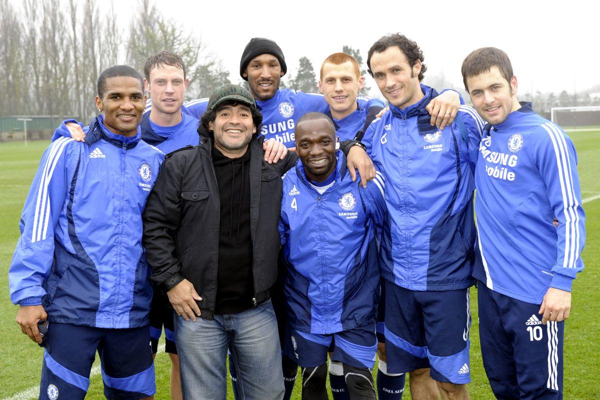Soccer - Maradona at Chelsea Training - Cobham Training Ground
