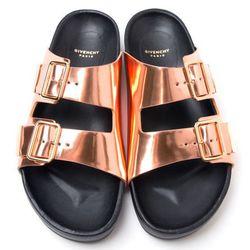 "<b>Givenchy</b> Metallic Buckle Sandal, <a href=""http://www.kirnazabete.com/shoes/sandals/metallic-buckle-sandal#"">$850</a> at Kirna Zabete"