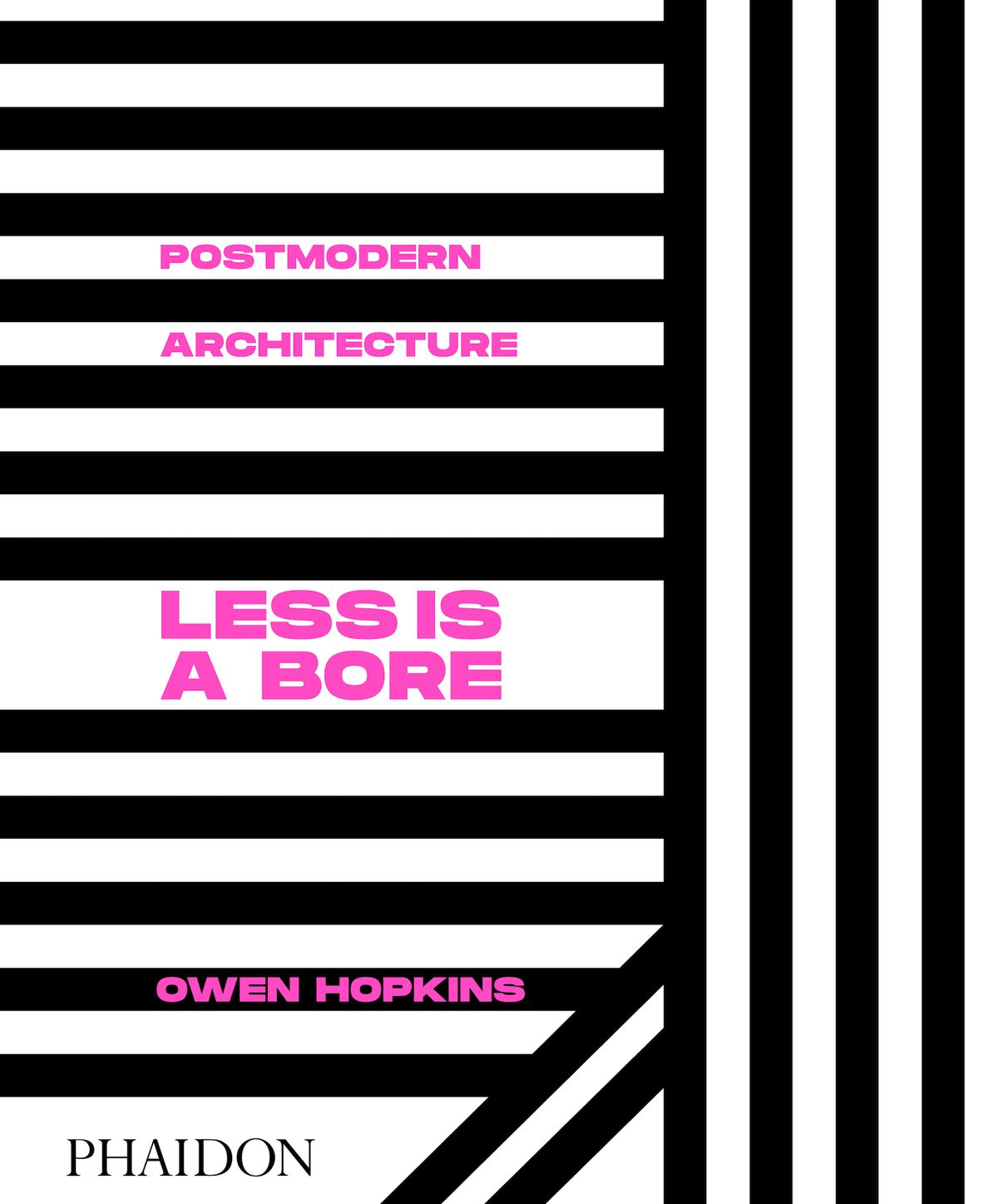 Book cover with black lines and pink text.