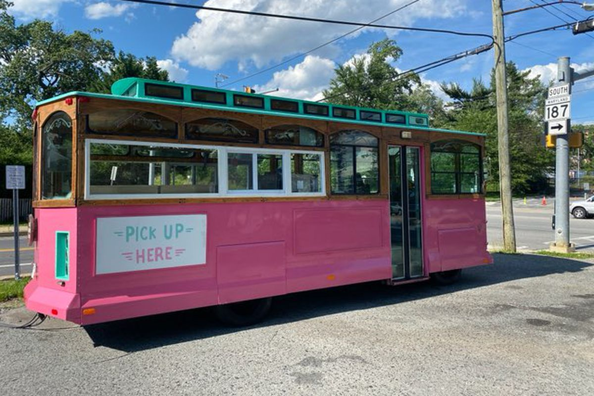 Call Your Mother retrofitted a mobile trolley car that will dispense bagels and coffee near a Bethesda hospital