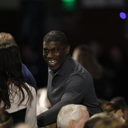 Former BYU linebacker Leon White attends a public memorial service for former Cougar football coach LaVell Edwards at the Provo Convention Center on Friday, Jan. 6, 2017.