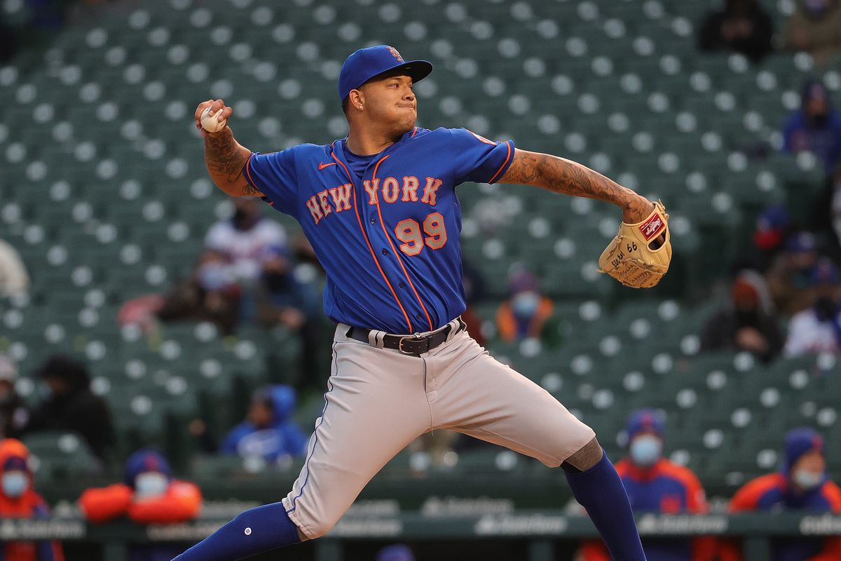 Starting pitcher Taijuan Walker #99 of the New York Mets pitches against the Chicago Cubs at Wrigley Field on April 20, 2021 in Chicago, Illinois. The Cubs defeated the Mets 3-1.