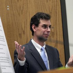 Defense attorney Randall Spencer gives closing arguments before the jury in the murder trial of former Pleasant Grove physician Martin MacNeill in Provo's 4th District Court on Friday, Nov. 8, 2013. MacNeill is charged with murder in the 2007 death of his wife, Michele MacNeill.