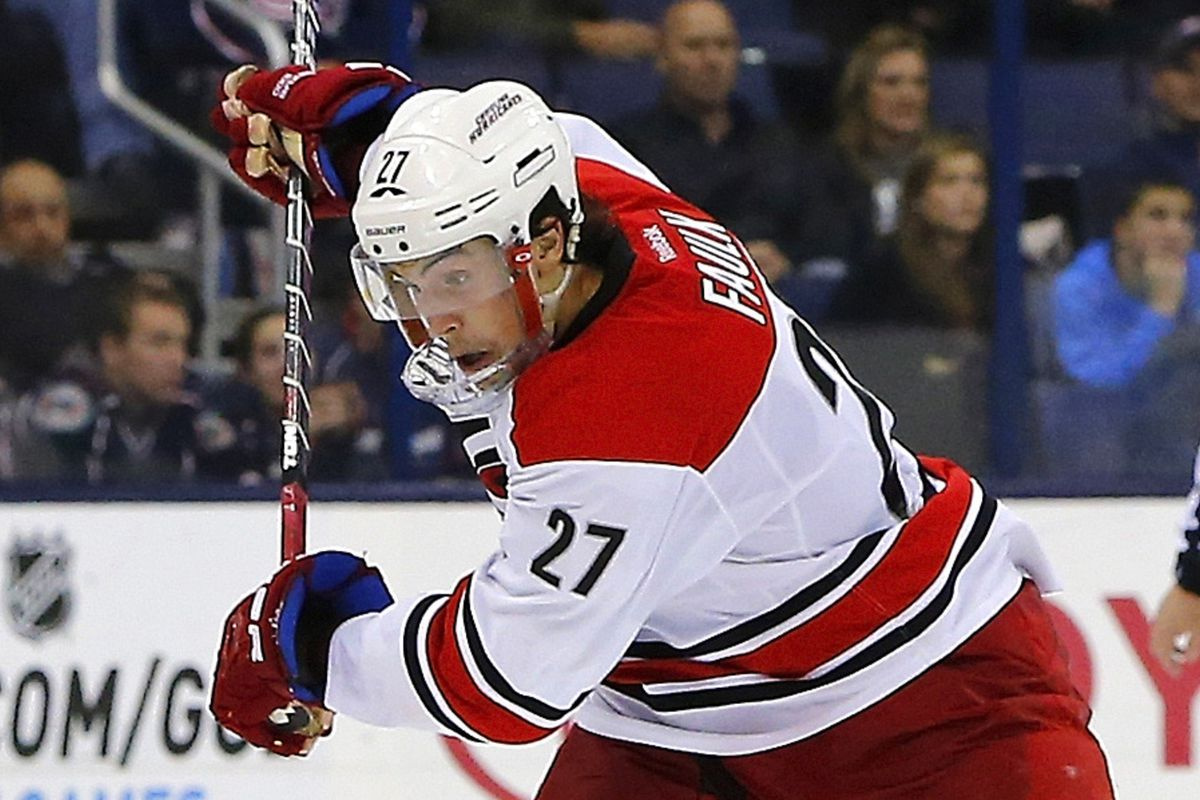 Justin Faulk has turned his game around and was Carolina's best player Tuesday vs. Columbus.