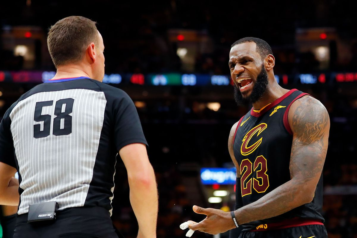 LeBron James argues with a ref