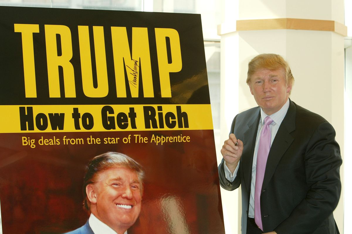 Trump at the book launch of How to Get Rich.