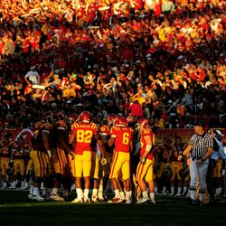 Iowa State Cyclones players huddle during the second quarter against the Minnesota Golden Gophers in the 2009 Insight Bowl at Sun Devils Stadium