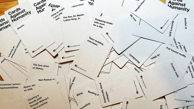 """A pile of cards from the """"Cards Against Humanity"""" game"""