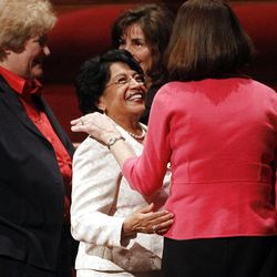Sister Silvia H. Allred attends the afternoon session of the 182nd Annual General Conference for The Church of Jesus Christ of Latter-day Saints at the LDS Conference Center in Salt Lake City on Saturday, March 31, 2012.