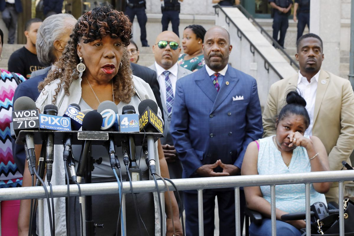 Eric Garner's mother, Gwen Carr, speaks to reporters on July 16, 2019. Garner's family has criticized the Department of Justice's announcement that it will not charge NYPD officer Daniel Pantaleo for Garner's death in 2014.