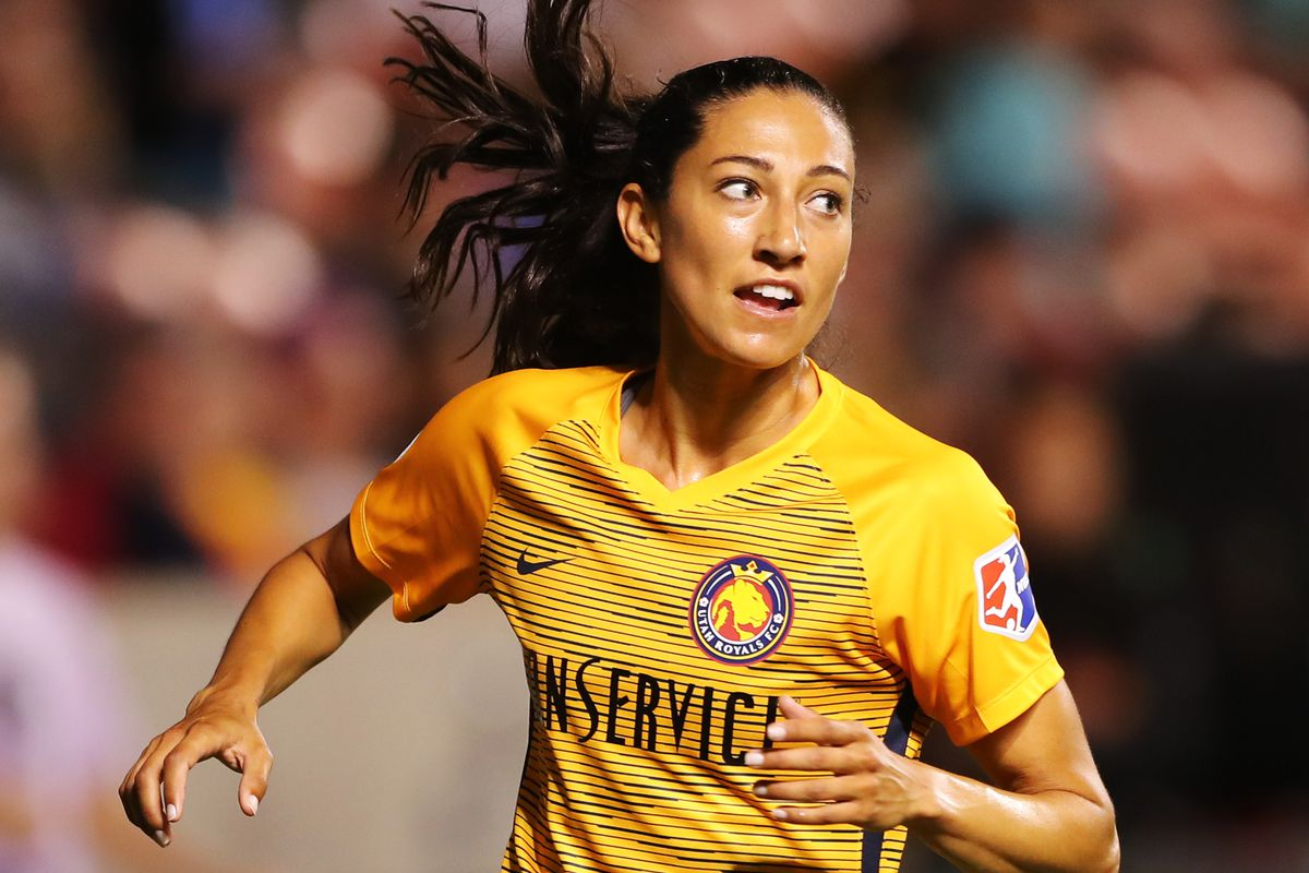 Utah Royals FC forward Christen Press (23) turns back after a shot as the Salt Lake Royals and Sky Blue FC play at Rio Tinto Stadium in Sandy on Wednesday, Aug. 7, 2019. The Royals won 3-0.