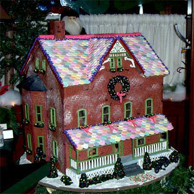 Gingerbread house with brick pattern on the exterior.
