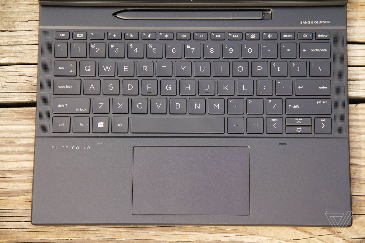 The HP Elite Folio keyboard seen from above.
