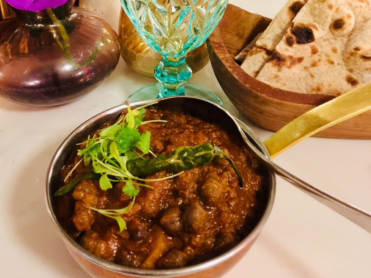 Curry topped with a green chilli at Chakra, one of the best north Indian restaurants in London