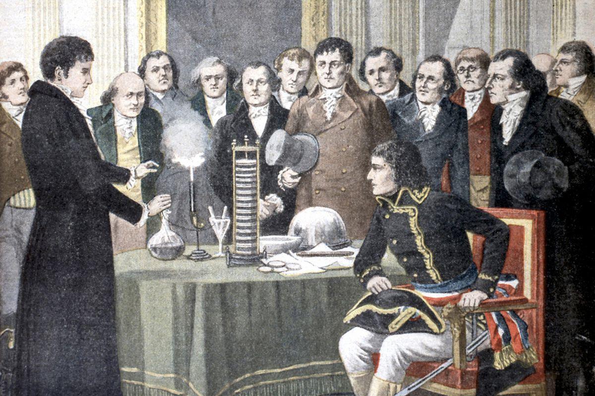 Volta amazes Napoleon with his battery.