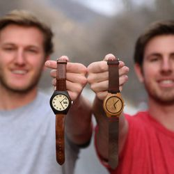 Boman Farrer and Ryan Krantz, founders of Lunowear, are shown with their Luno watches.
