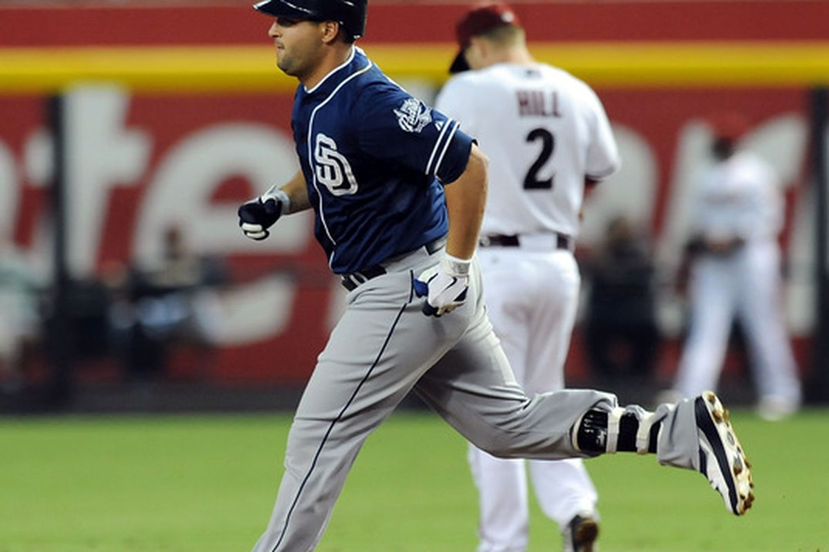 PHOENIX, AZ - JULY 03:  Yonder Alonso #23 of the San Diego Padres rounds the bases after hitting a home run against the Arizona Diamondbacks at Chase Field on July 3, 2012 in Phoenix, Arizona.  (Photo by Norm Hall/Getty Images)