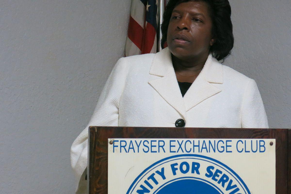 Shelby County school board member Teresa Jones speaks to the Frayser Exchange Club in June 2014.