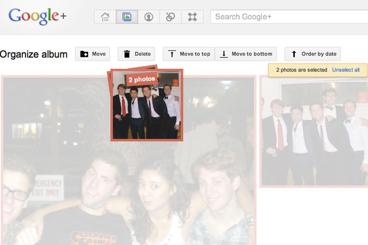 google+ multiple photo selection organizer