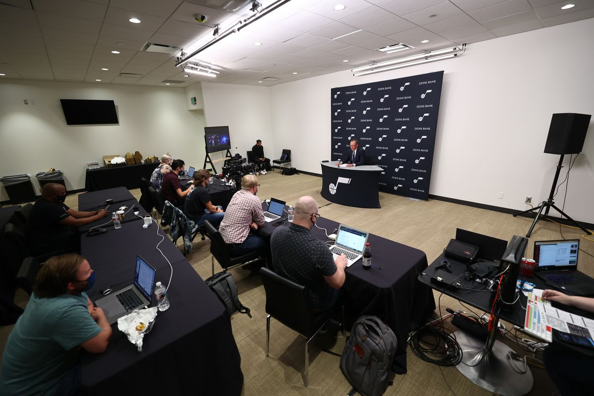 Utah Jazz general manager Justin Zanik fields questions during media day at Vivint Arena in Salt Lake City on Sept. 27, 2021.