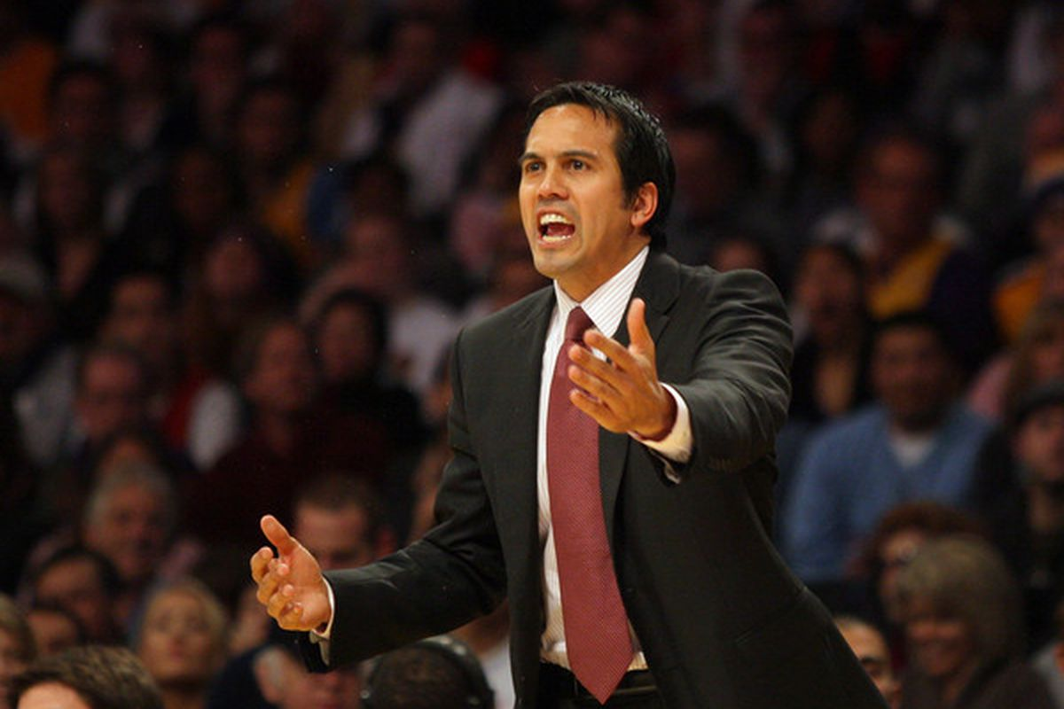 LOS ANGELES CA - DECEMBER 25: Head Coach Eric Spoelstra of the Miami Heat yells from the bench area during their NBA game against the Los Angeles Lakers at Staples Center on December 25 2010.The Heat defeated the Lakers 96-80.