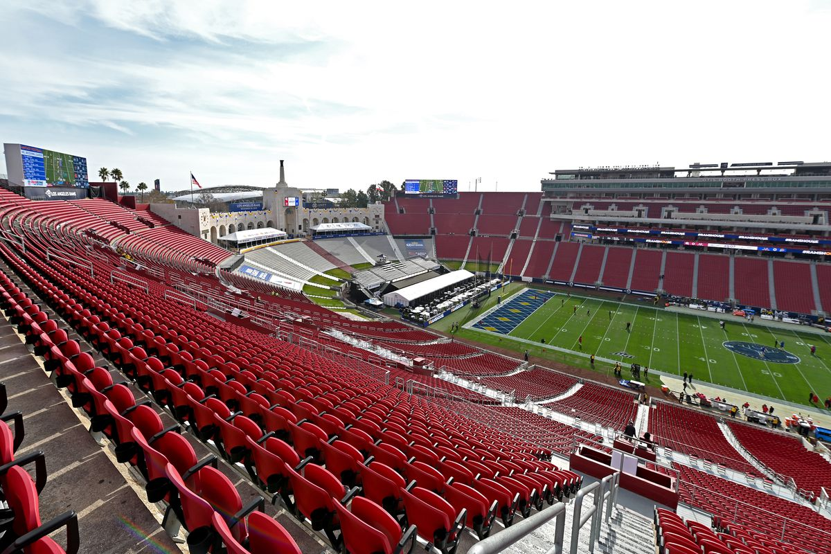 General view of the Los Angeles Memorial Coliseum for the game between the Arizona Cardinals and the Los Angeles Rams on December 29, 2019 in Los Angeles, California.