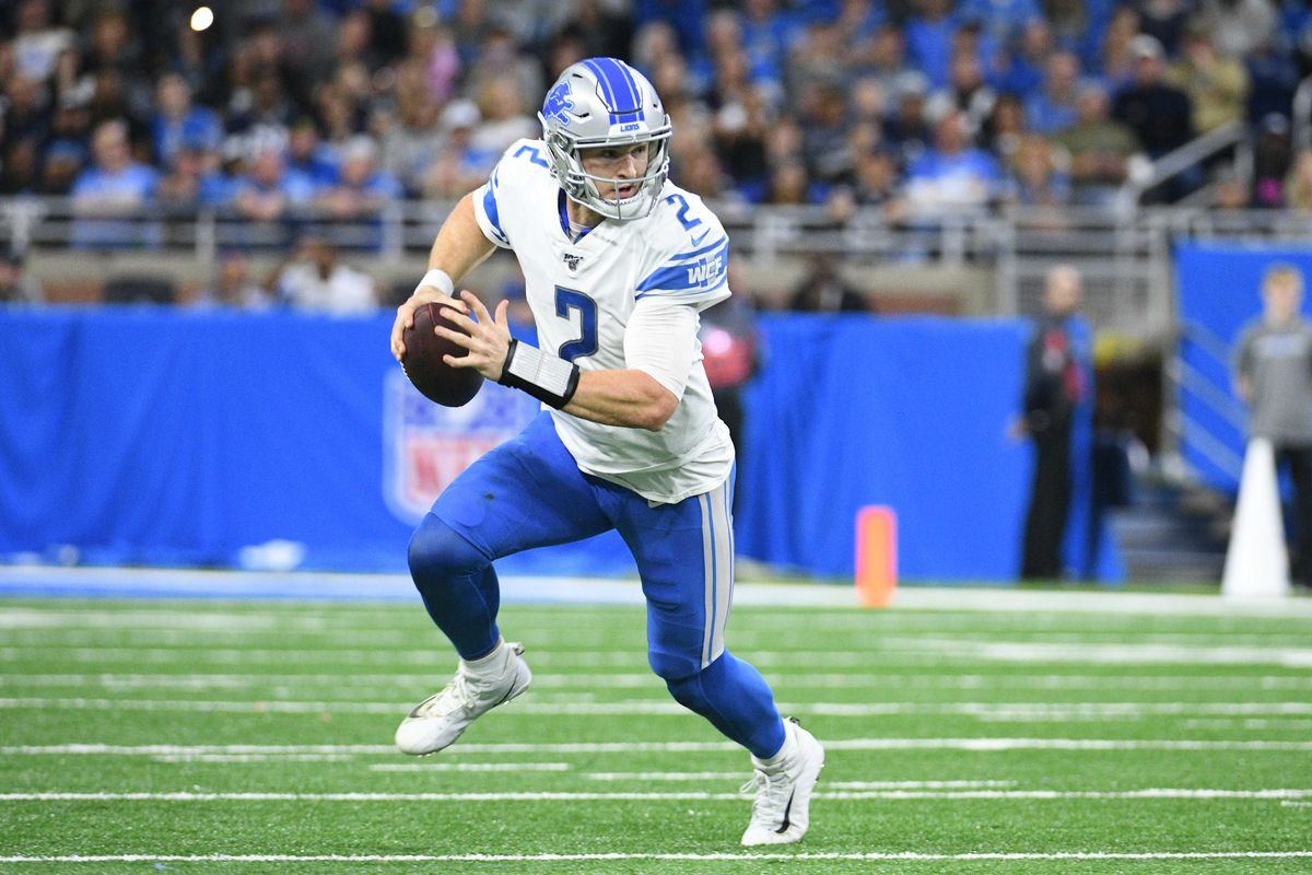 Detroit Lions quarterback Jeff Driskel runs the ball during the second half against the Dallas Cowboys at Ford Field.