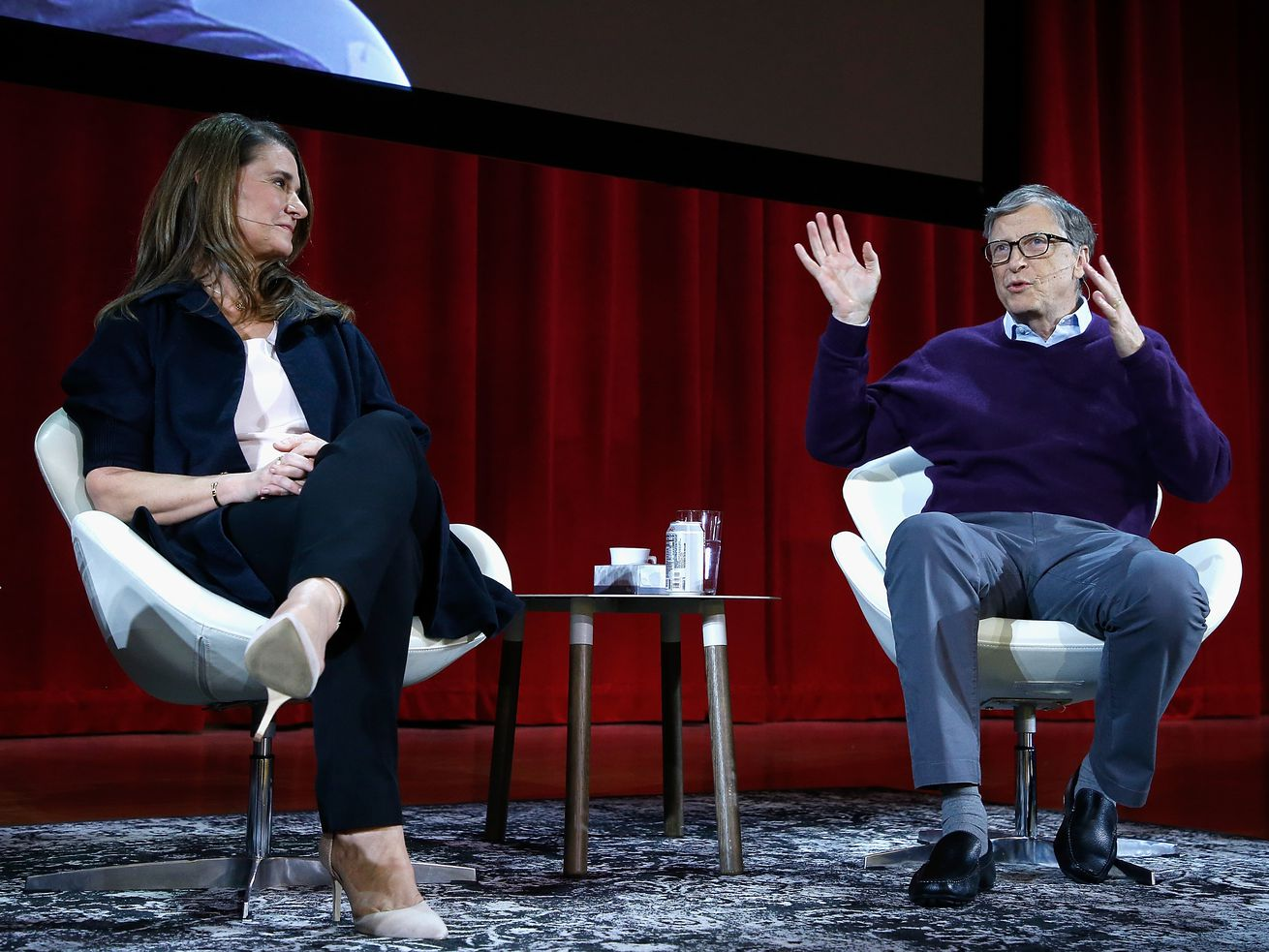 Melinda and Bill Gates speak at Hunter College on February 13, 2018, in New York City.