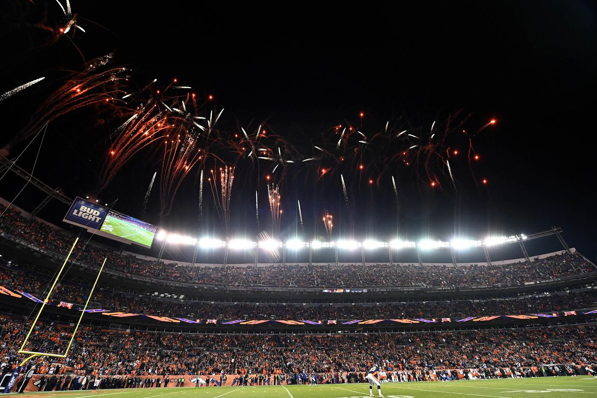 General view of fireworks going off at Broncos Stadium at Mile High before kickoff between the Cleveland Browns against the Denver Broncos.