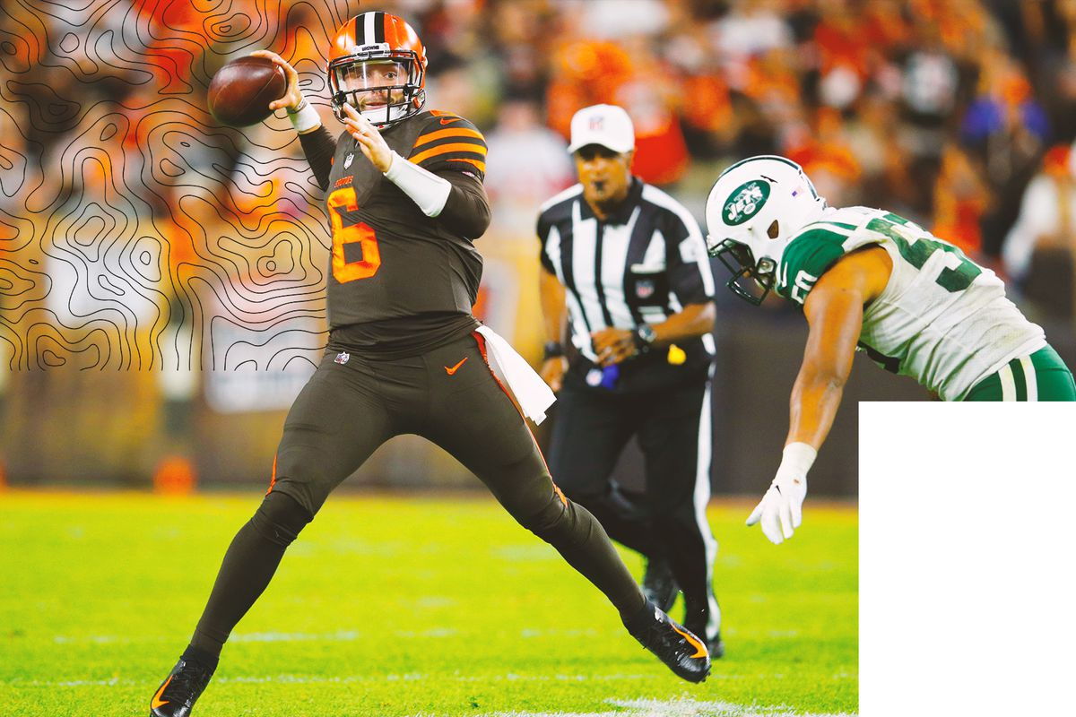 99be7e83 Baker Mayfield rejuvenated a lifeless Cleveland Browns offense in the  second half against the New York Jets. With Tyrod Taylor, the Browns were  averaging ...