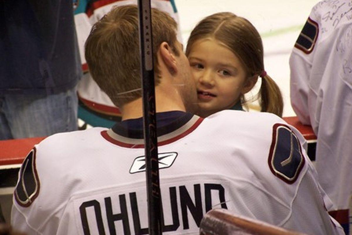 "Ohlund nurturing baby Edler in a previous season. [<a href=""http://farm1.static.flickr.com/43/80781391_8270bda824.jpg?v=0"">flickr.com</a>]"