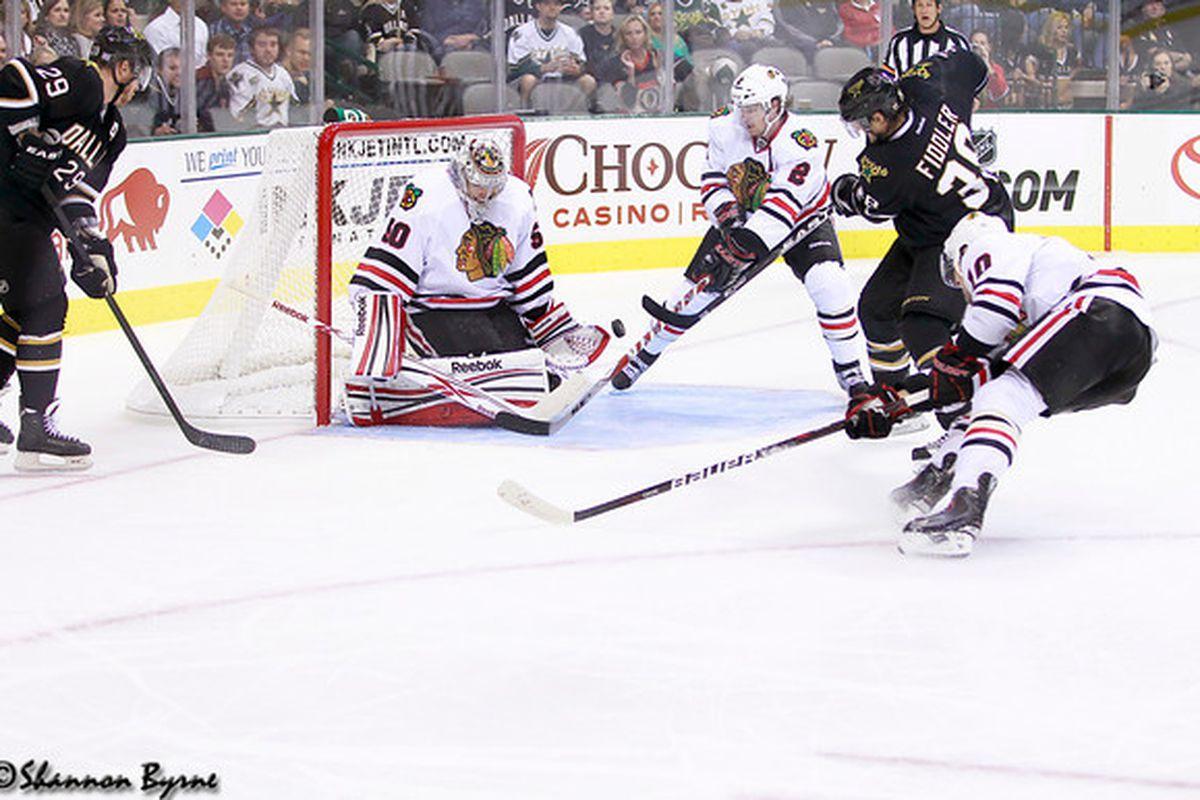 The Stars did well to put early pressure on Crawford.  (www.myhockeyshots.com)