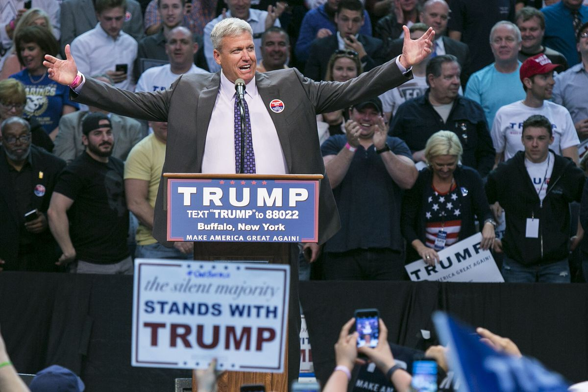 Buffalo Bills Coach Rex Ryan introduces Donald Trump during Trump's rally in Buffalo on Monday night. Trump's bid for the Bills in 2014 previewed much of his 2016 campaign strategy.
