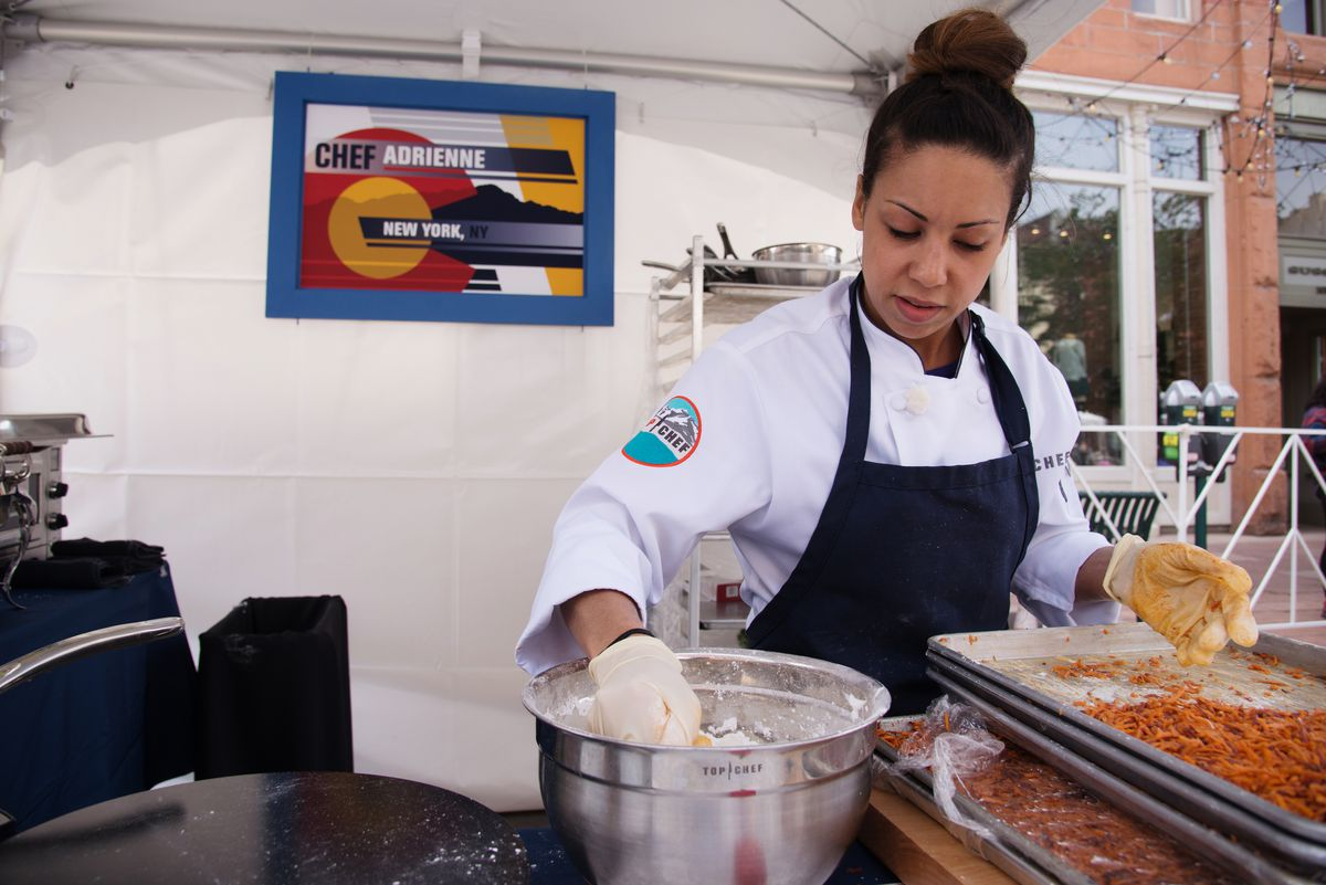 """""""I've been cooking professionally for 15 years. When I walk into the kitchen I don't see myself as a woman or a minority. I see myself as a chef,"""" says Chef Adrienne Cheatham.   Paul Trantow/Bravo"""