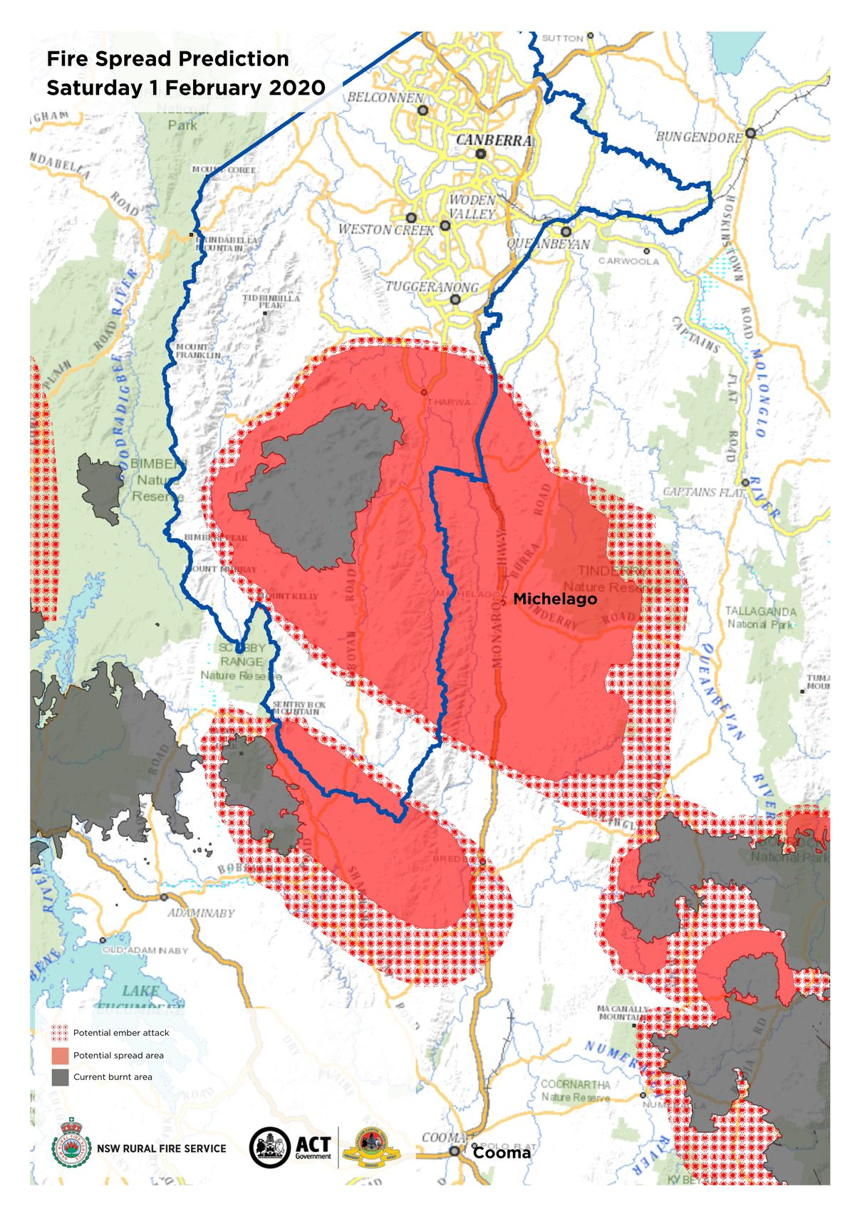 A map of the fire spread prediction for the Australian Capital Territory for February 1, 2020.
