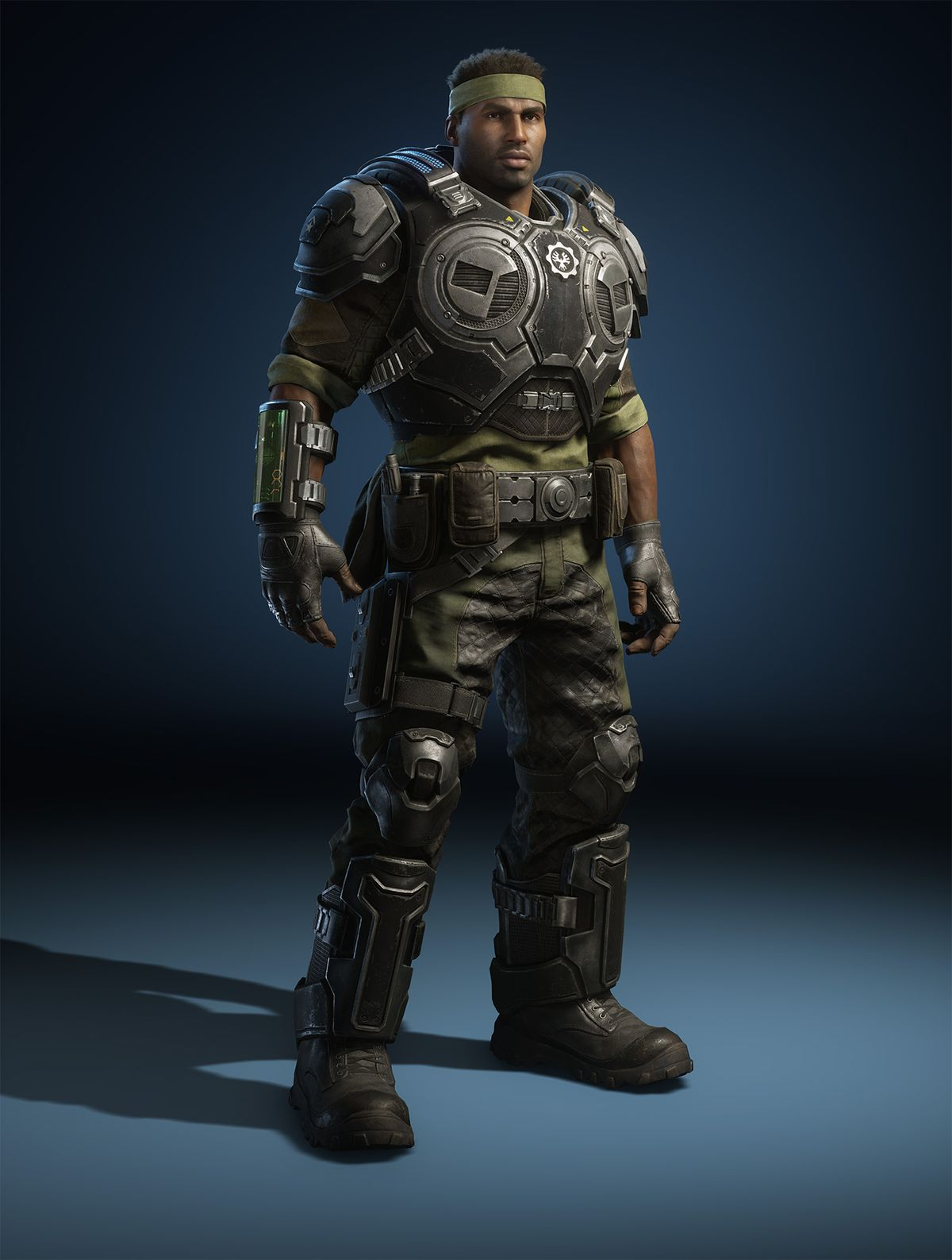 a render of the Gears 5 character Del Walker in military armor