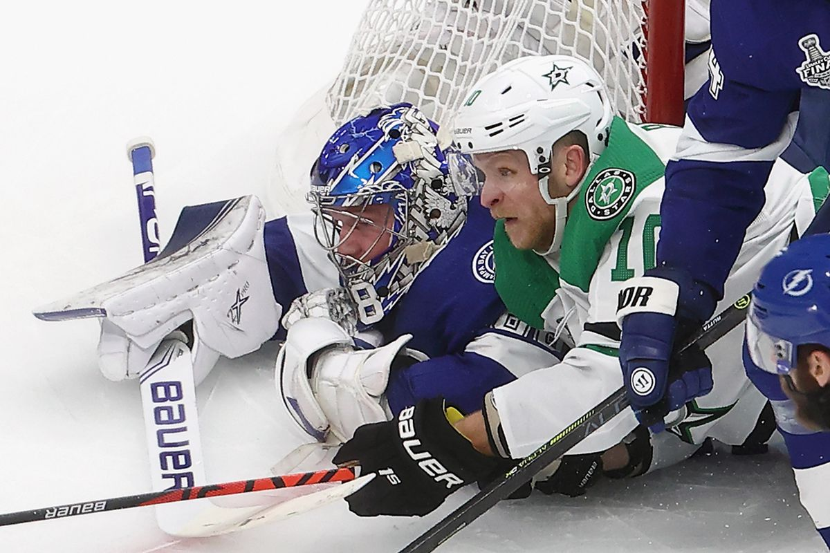 EDMONTON, ALBERTA - SEPTEMBER 26: Andrei Vasilevskiy #88 of the Tampa Bay Lightning defends against Corey Perry #10 of the Dallas Stars in Game Five of the 2020 NHL Stanley Cup Final at Rogers Place on September 26, 2020 in Edmonton, Alberta, Canada.