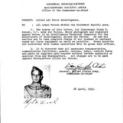 Clyde D. Gessel's orders signed by Gen. Douglas MacArthur to recover planes and notifying all military personnel to give him whatever assistance was requested.