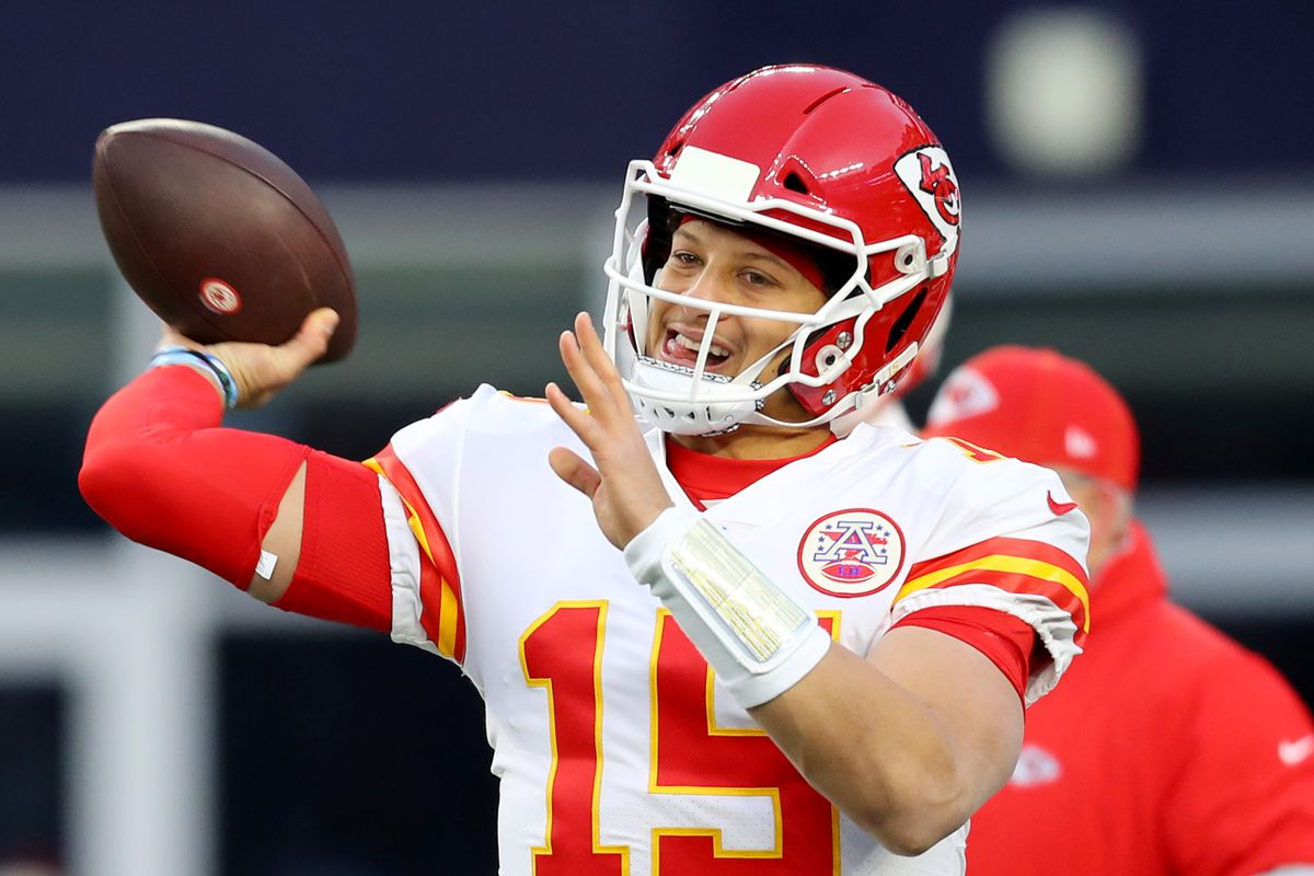 Patrick Mahomes of the Kansas City Chiefs warms up before the game against the New England Patriots at Gillette Stadium on December 08, 2019 in Foxborough, Massachusetts.