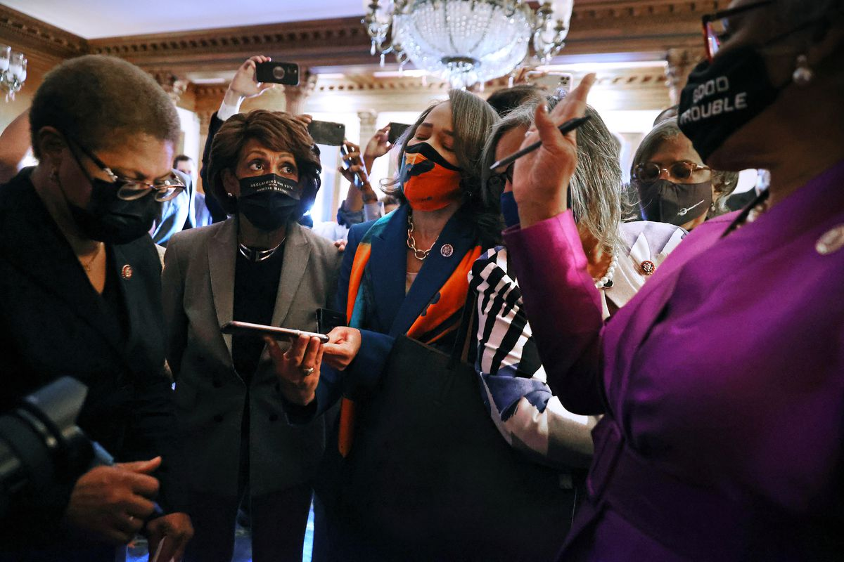 Members of the Congressional Black Caucus, including (L-R) Rep. Karen Bass (D-CA), Rep. Maxine Waters (D-CA), Rep. Lisa Blunt Rochester (D-DE), and caucus chair Rep. Joyce Beatty (D-OH) (R) react to the verdict in the Derek Chauvin murder trial in the Rayburn Room at the U.S. Capitol on April 20, 2021 in Washington, DC.