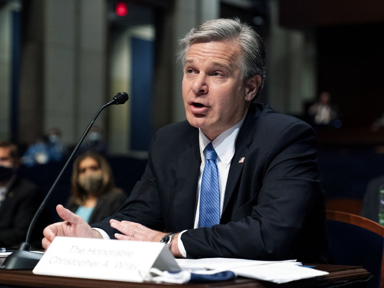 Federal Bureau of Investigation (FBI) Director Christopher Wray testifies before the House Judiciary Committee oversight hearing on the Federal Bureau of Investigation on Capitol Hill, Thursday, June 10, 2021, in Washington.