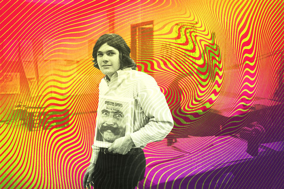 Jann Wenner holding a copy of Rolling Stone against a psychedelic background