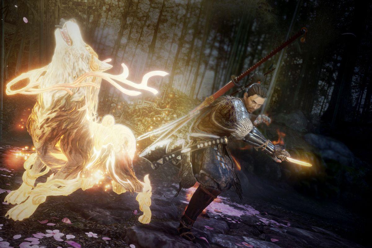 A samurai launches a ghostly yokai attack in a screenshot from Nioh 2