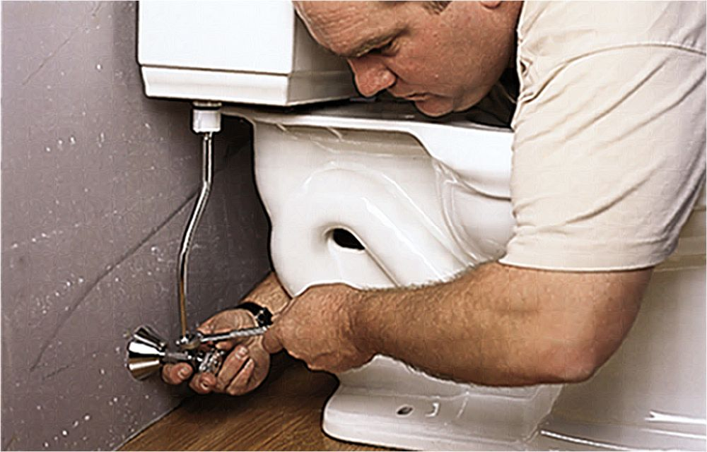 Man Installing Supply Line And Seat Assembly Of Toilet