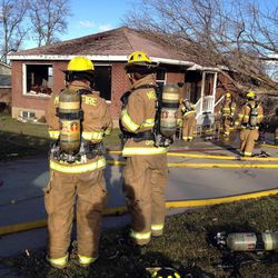 House fire cause by downed power lines at 197 E. 1500 South in Bountiful Thursday, Dec. 1, 2011.