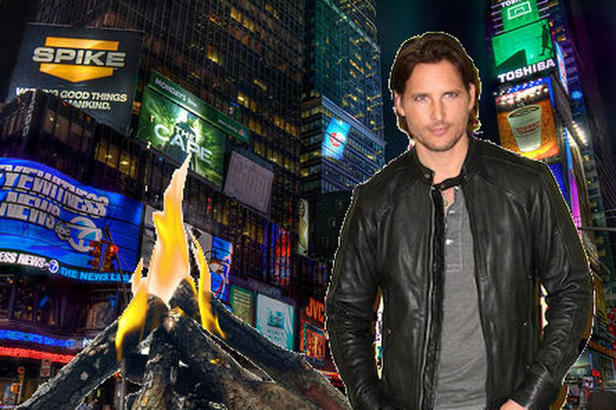 """Times Square image via <a href=""""http://www.flickr.com/photos/yinghai83/6014923119/sizes/m/"""">Yinghai</a>/Flickr; Campfire image via <a href=""""http://www.shutterstock.com/cat.mhtml?lang=en&amp;search_source=search_form&amp;version=llv1&amp;anyorall=all"""