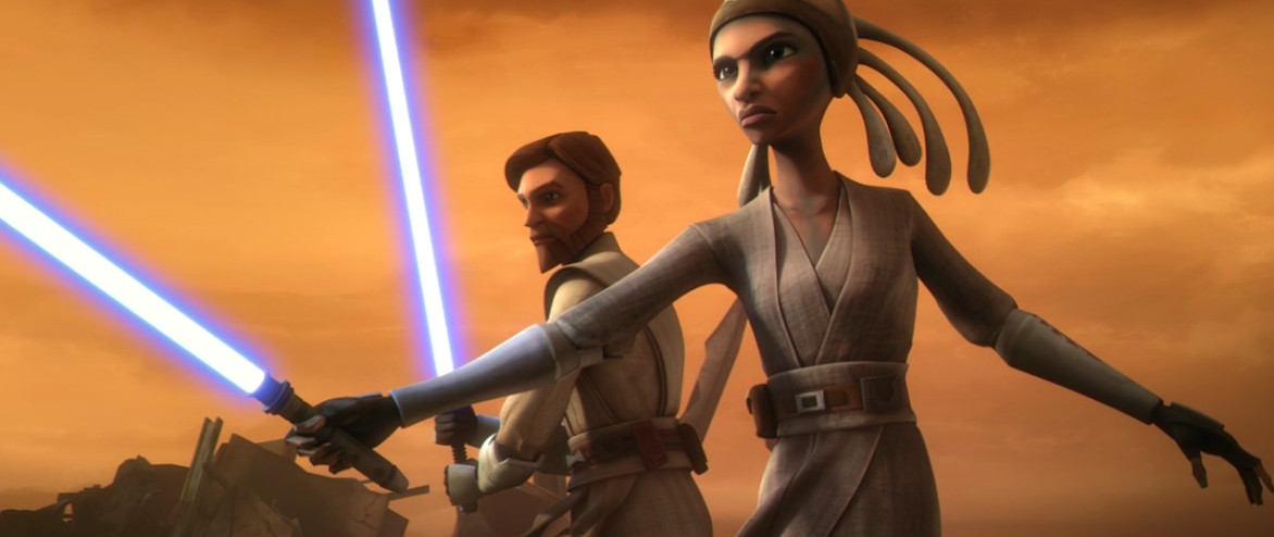 adi gallia and obi wan prepare for fight with their blue lightsabers out