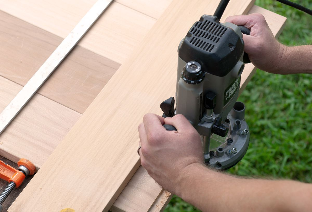 Man Preps Slats With Router