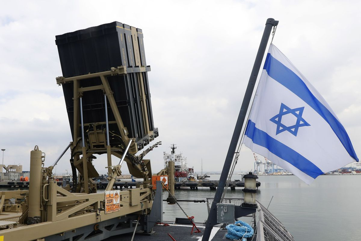 A photo taken on February 12, 2019, shows an Israeli naval Iron Dome defense system installed on an Israeli ship.