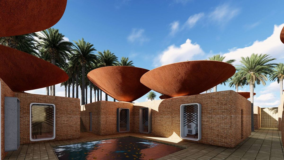 A group of small buildings with concave bowls on top.